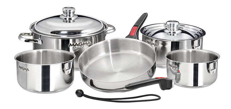 10 Piece Gourmet Nesting Stainless Steel Cookware Set