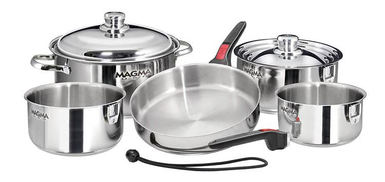 10 Piece Gourmet Nesting Stainless Steel Cookware Set