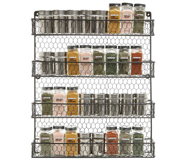 Black Country Rustic Wall Mounted Spice Rack