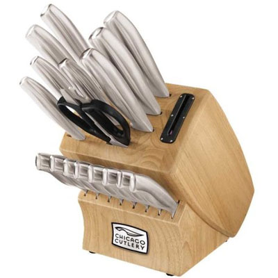 Chicago Cutlery 18-Piece Insignia Steel Knife Set with In-Block Sharpener