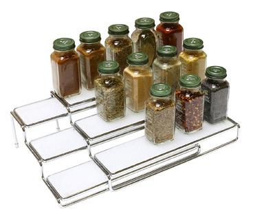 Deco Brothers DecoBros 3 Tier Expandable Cabinet Spice Rack Step Shelf Organizer