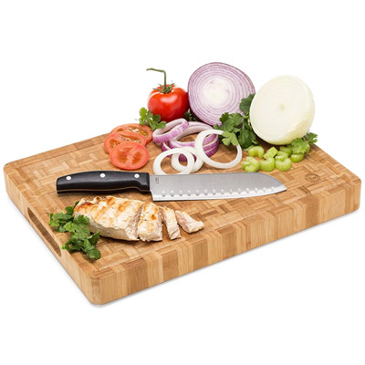 Top Notch Kitchenware Large End Grain Bamboo Butcher Block