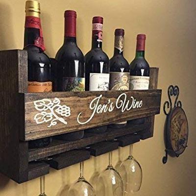 Upstate Woodwork & Engravings Custom Name Wall Mount Wine Rack