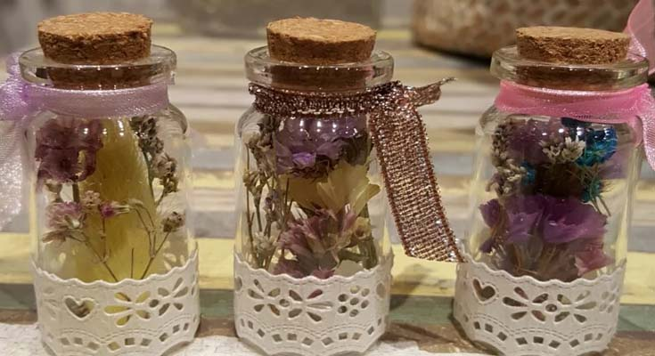 Customize Pantry Jars and Bottles with Dried Flowers