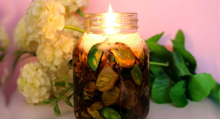 Decorative DIY Candles Dried Flowers