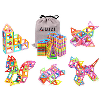AILUKI 110 PCS Magnetic Blocks Building Set for Kids